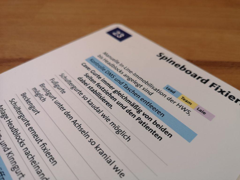 Checkliste Spineboard Fixierung SK Verlag
